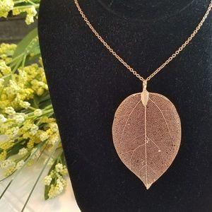 """3"""" Rose Gold Plated Filigree Leaf Long Necklace"""